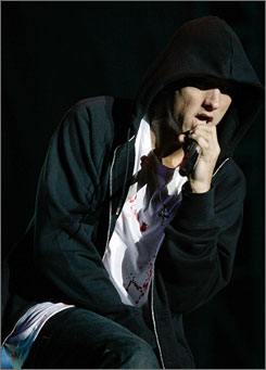 Eminem performs at the 2009 Voodoo Fest in New Orleans on Friday night.