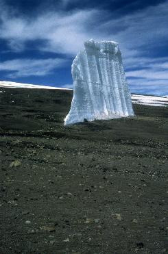 A remnant of a Kilimanjaro ice field that had been quite extensive as recently as 1962.