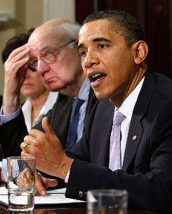 President Obama meets with the President's Economic Recovery Advisory Board on Monday at the White House to discuss ideas on sustaining growth.
