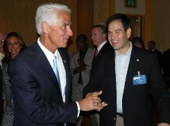 Florida Gov. Charlie Crist, left, and former state House spaker Marco Rubio are likely rivals in next year's Senate race.