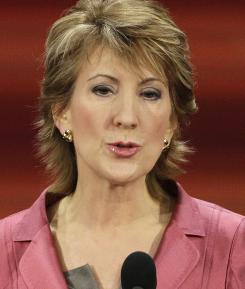 Carly Fiorina, former chairwoman and CEO of Hewlett-Packard Co., speaks at the Republican National Convention in St. Paul in 2008.