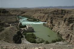The Kajakai power dam in Helmand province, Afghanistan, was built in 1953 by an American contractor to help Afghan farmers irrigate their fields. Dam repairs were to be finished by June 2008, but USAID says the area is too dangerous.