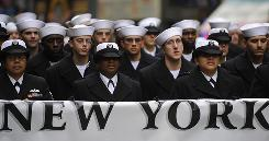 Members of the U.S. Navy march along Ffifth Avenue as part of the Veterans Day parade in New York.