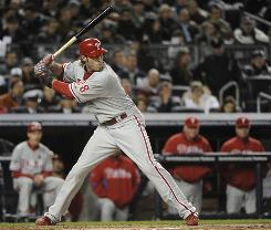 "Philadelphia Phillies right fielder Jayson Werth, 28, at bat in Game 6 of the World Series against the New York Yankees Nov. 4. Werth's career was put on hold by a wrist injury that was ""in his left hand, the leading hand when he was batting,"" says Mayo Clinic hand surgeon Richard Berger."