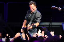 """Bruce Springsteen mistakenly referred to his location as """"Ohio"""" at a concert this weekend in Michigan. Here, he performs at Madison Square Garden earlier in the month."""