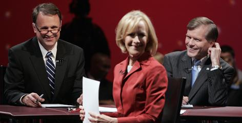 Democrat Creigh Deeds, left, and Republican Bob McDonnell talk with moderator Judy Woodruff Oct. 12. during the 2009 Virginia governor's race.