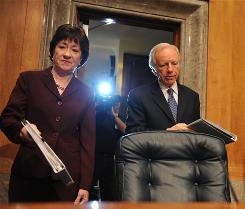 Sens. Susan Collins, R-Maine, and Joe Lieberman, I-Conn., attend a hearing of the Homeland Security and Governmental Affairs Committee on Thursday on the Fort Hood shooting.