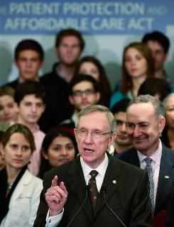 Senate Majority Leader Harry Reid, D-Nev., speaks at a news conference on health care Thursday on Capitol Hill.