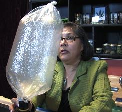 Madeline Martinez demonstrates a vaporizer that collects marijuana fumes for inhaling at the Cannabis Cafe in Portland, Ore.