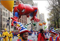 A Spider-Man balloon floats down Central Park West during the Macy's 83rd Annual Thanksgiving Day Parade in New York City on Thursday.