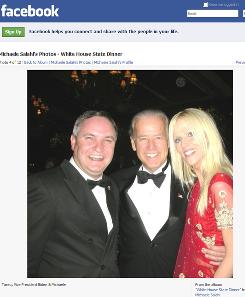 Screen image made from Michaele Salahi's Facebook page shows Tareq Salahi, left, Vice President Biden and Michaele Salahi at the White House state dinner in Washington on Tuesday.