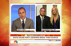 Tareq and Michaele Salahi, right, are interviewed by the Today show's host Matt Lauer on Tuesday. The couple insists they were invited to the White House state dinner. Appearing on the same program, White House spokesman Robert Gibbs says the Salahis had not been invited.