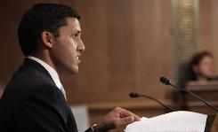 Rajiv J. Shah, nominated by President Obama to run the U.S. Agency for International Development, testifies on Capitol Hill in Washington on Tuesday before the Senate Foreign Relations Committee hearing on his nomination.