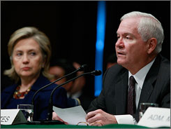 Secretary of State Hillary Clinton and Defense Secretary Robert Gates at the Senate Armed Services Committee hearing on Capitol Hill on Wednesday.