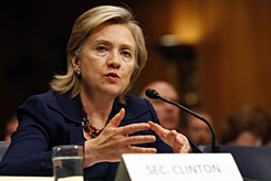 """Secretary of State Hillary Clinton tells a Senate committee: """"I do not believe we have locked ourselves into leaving."""""""