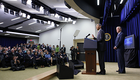 President Obama, accompanied by Vice President Biden, speaks Thursday at a White House jobs summit,