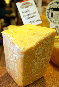A 15-year-old aged Wisconsin cheddar made by Hook's Cheese Company retails for $50 a pound at Larry's Market in Mineral Point, Wis.