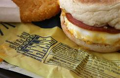 A provision in health care legislation before Congress would require large chain restaurants to add nutrition labels, as on this McDonald's Egg McMuffin in California.