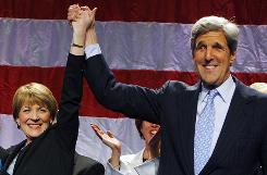 Massachusetts Attorney General Martha Coakley is congratulated by Sen. John Kerry, D-Mass., in Boston on Tuesday after she won the Democratic primary for the Senate seat held by Sen. Edward Kennedy for nearly 47 years.
