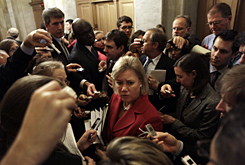 Sen. Mary Landrieu, D-La., speaks to reporters following her news conference on the health care bill, Wednesday on Capitol Hill. She is among the 10 senators negotiating a compromise on a government-run insurance program.