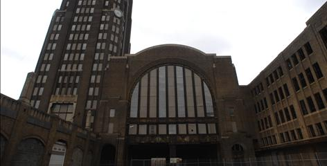 The Central Railroad Terminal, opened in 1929, sits empty and has been long-stripped of its exquisite interior details.