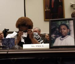 Emotional testimony: Toni Price testifies at a hearing in May to examine the use of seclusion and restraint in schools. Price's foster son, Cedric Napoleon, 14, in photo, died in Texas in 2002 after a teacher restrained him.