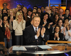 "Charles Gibson bids farewell to ""World News with Charles Gibson"" surrounded by friends and colleagues at ABC News headquarters in New York."