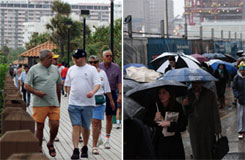 A walk in Miami, left, in third happiest state Florida, vs. New York, ranked least happy by the CDC. Researchers speculate sunshine hours are a factor in people's satisfaction with life.