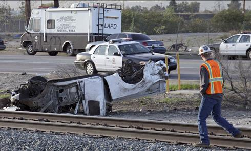 Los Angeles commuter train, two cars in collision