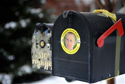 Ribbons and stickers adorn the mailbox for a neighbor of Pfc. Bowe Bergdahl's family in Hailey, Idaho to show support for the captured soldier.