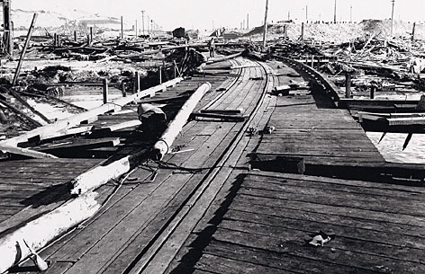 A huge explosion July 17, 1944, splintered the pier and blew ships out of the water.