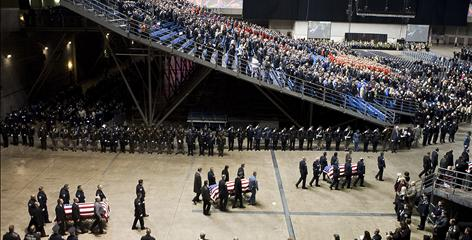 A memorial service was held Dec. 8 in Tacoma, Wash. for slain police officers Tina Griswold, Ronald Owens, Greg Richards and Mark Renninger. 