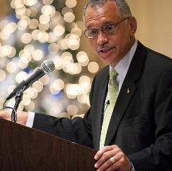NASA Administrator Charles Bolden speaks during a luncheon co-hosted by the American Institute of Aeronautics and Astronautics and Women In Aerospace on Dec. 9 at the Ritz-Carlton in Arlington, Va.