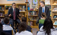 President Obama and Secretary of Education Arne Duncan speak about education to sixth-, seventh- and eighth-grade students at Wright Middle School in Madison, Wis., Nov. 4.