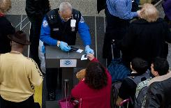 A Transporation Security Administration agent, center, checks IDs at Ronald Reagan Washington National Airport in Arlington, Va., on Tuesday.