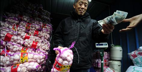 A shopper buys garlic at a wholesale market in Hefei, China, on Nov. 27. Rumors that garlic helps defend against the H1N1 virus have sent prices of garlic rocketing in recent months.