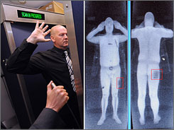 Two images show an airport staff member demonstrating a full body scan at Manchester Airport in England, and a computer screen showing the results of a full body scan on Oct. 13. The image on the right is not from a scan of the man pictured left.