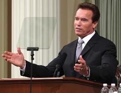 Gov. Arnold Schwarzenegger addresses a joint session of the state Legislature as he gives his final State of the State address at the Capitol  in Sacramento on Wednesday.