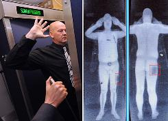 Combination of images taken on October 13, 2009 shows an airport staff member demonstrating a full body scan at Manchester Airport in Manchester, north-west England, and a computer screen showing the results of a full body scan.