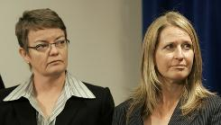 Kristin Perry, left, and Sandra Stier are shown at a news conference July 2 at the Federal Building in San Francisco. Perry is title plaintiff in the court case.