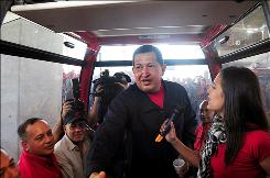 President Hugo Chavez rode the Caracas aerial tramway during his inauguration on Jan. 20 in Venezuela.