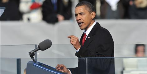 President Obama speaks to the packed National Mall after he is sworn in at the U.S. Capitol.