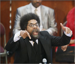 Keynote speaker Cornel West speaks during the Martin Luther King Jr. commemorative service at Ebenezer Baptist Church on Monday in Atlanta.