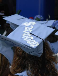 An '07 graduate from Barnard College in New York taped the approximate cost of a four-year education to her commencement cap. More than 41% of college freshmen say the cost of attending a college was a very important factor in their choice of schools, up from 31% in 2004.