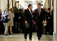 Sen.-elect Scott Brown, R-Mass., right, meets with his predecessor, Sen. Paul Kirk, D-Mass., on Capitol Hill on Thursday. Kirk was appointed to replace the late Edward Kennedy.