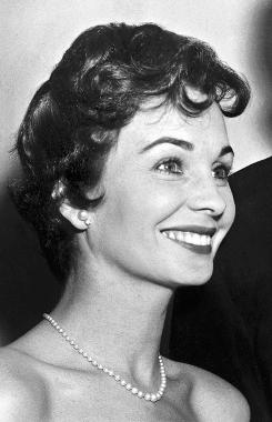 Emmy winning actress Jean Simmons, here at the 10th Annual Golden Globe Awards in Hollywood on Feb. 23, 1956, died in California on Friday.