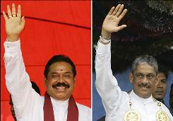 Though it has been just eight months since President Mahinda Rajapaksa, left, and retired general Sarath Fonseka declared victory in the quarter-century war against the Tamil Tiger rebels, many voters were more focused on the stagnant economy than the newfound peace.