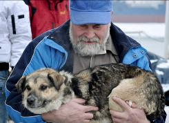 Adam Buczynski carries a dog found floating on an ice floe Tuesday, 15 miles off the Polish Baltic Sea coast in Gdynia. Buczynski, a sailor from the ship Baltica, pulled the dog from the ice floe.