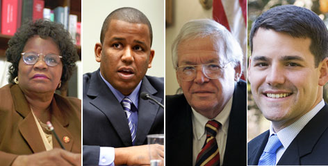 From left to right; Carrie Meek, Kendric Meek, Dennis Hastert and Ethan Hastert