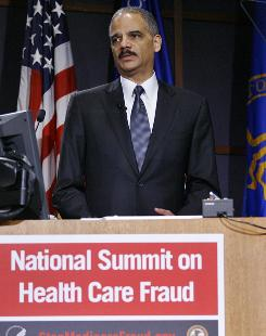 Attorney General Eric Holder discuss the importance of preventing health care fraud at the first National Summit on Health Care Fraud on January 28 in Bethesda, Maryland.